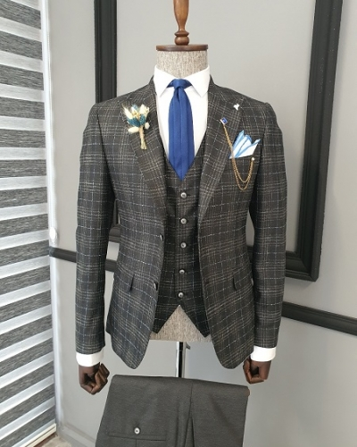 Black Slim Fit Notch Lapel Plaid Suit for Men by GentWith.com with Free Worldwide Shipping