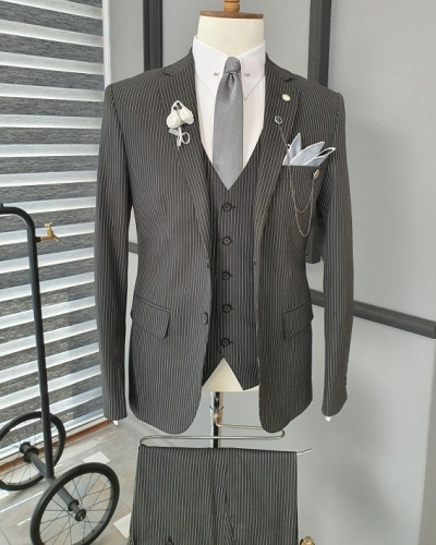 Black Slim Fit Notch Lapel Striped Suit for Men by GentWith.com with Free Worldwide Shipping