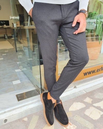 Black Slim Fit Pants for Men by GentWith.com with Free Worldwide Shipping