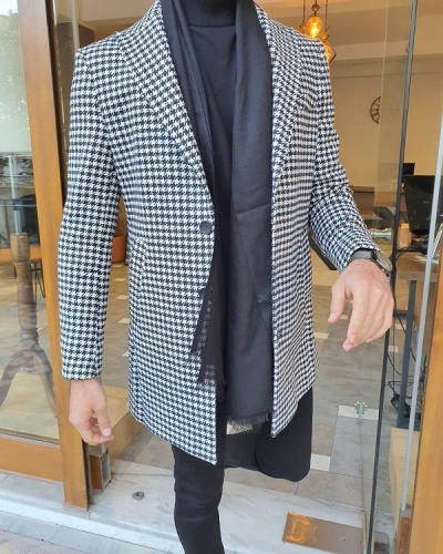 Black Slim Fit Single Breasted Long Coat for Men by GentWith.com with Free Worldwide Shipping