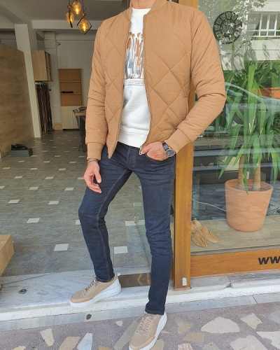 Brown Slim Fit Jacket for Men by GentWith.com with Free Worldwide Shipping