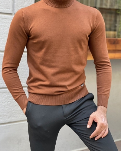 Brown Slim Fit Mock Turtleneck Sweater for Men by GentWith.com with Free Worldwide Shipping