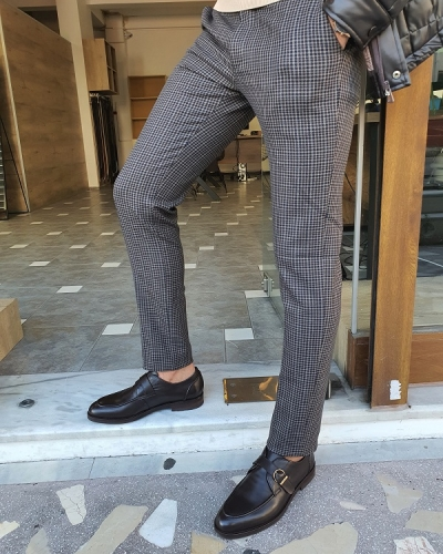 Brown Slim Fit Plaid Pants for Men by GentWith.com with Free Worldwide Shipping