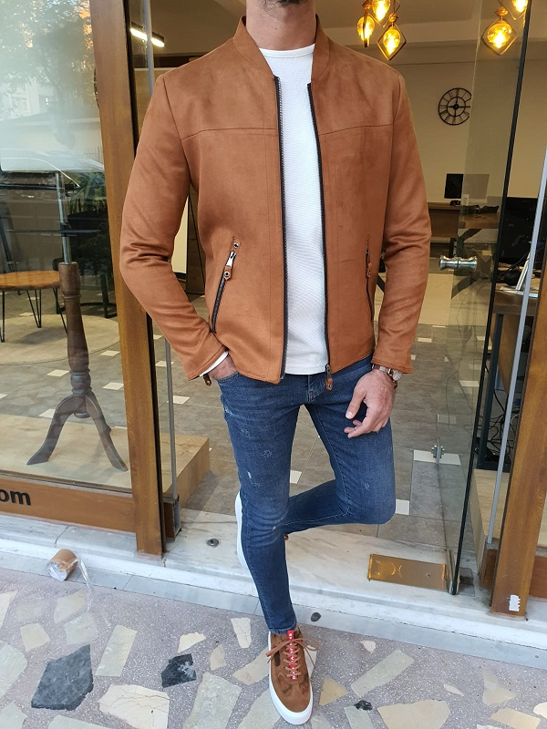 Brown Slim Fit Suede Coat for Men by GentWith.com with Free Worldwide Shipping