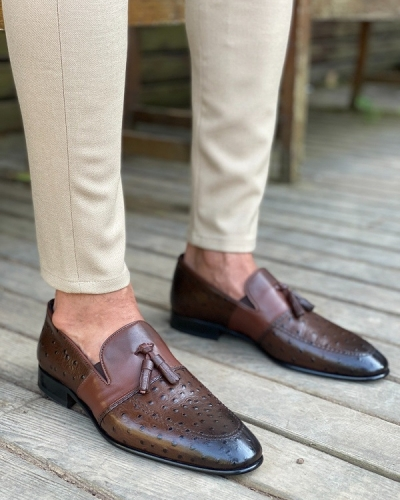 Brown Tassel Loafers for Men by GentWith.com with Free Worldwide Shipping