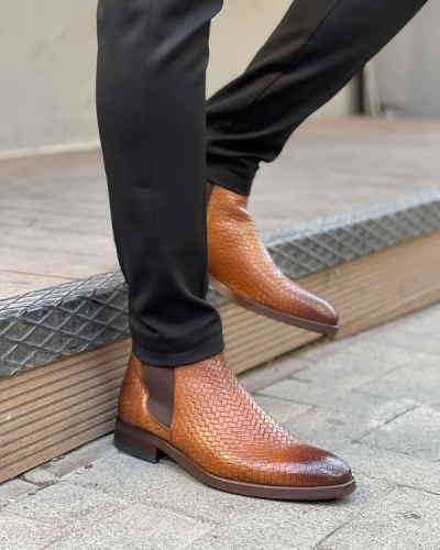 Brown Woven Leather Chelsea Boots for Men by GentWith.com with Free Worldwide Shipping