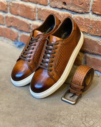 Brown Woven Leather Low-Top Sneakers for Men by GentWith.com with Free Worldwide Shipping