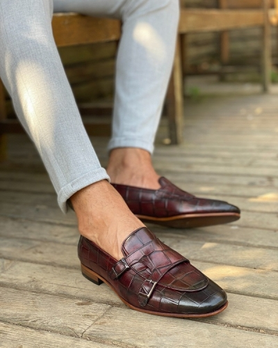 Burgundy Monk Strap Loafers for Men by GentWith.com with Free Worldwide Shipping