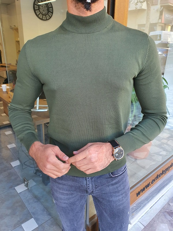 Green Slim Fit Mock Turtleneck Sweater for Men by GentWith.com with Free Worldwide Shipping