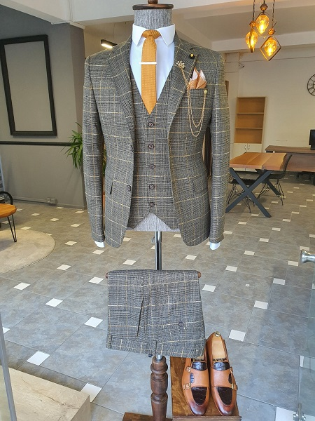 Khaki Slim Fit Notch Lapel Plaid Suit for Men by GentWith.com with Free Worldwide Shipping