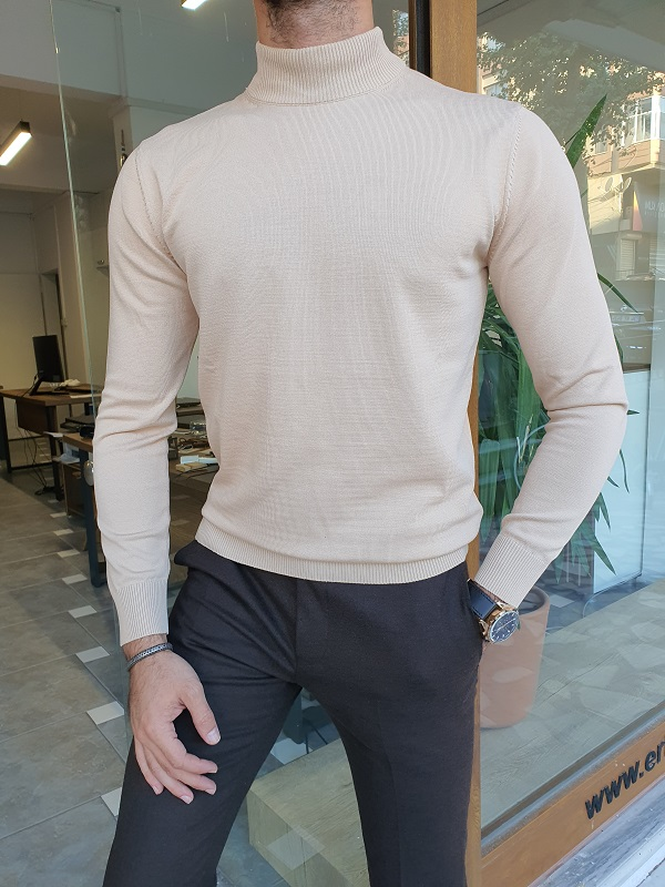 Light Beige Slim Fit Mock Turtleneck Sweater for Men by GentWith.com with Free Worldwide Shipping