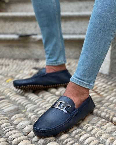 Navy Blue Loafers for Men by GentWith.com with Free Worldwide Shipping