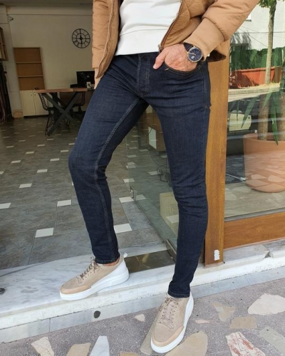 Navy Blue Slim Fit Jeans for Men by GentWith.com with Free Worldwide Shipping