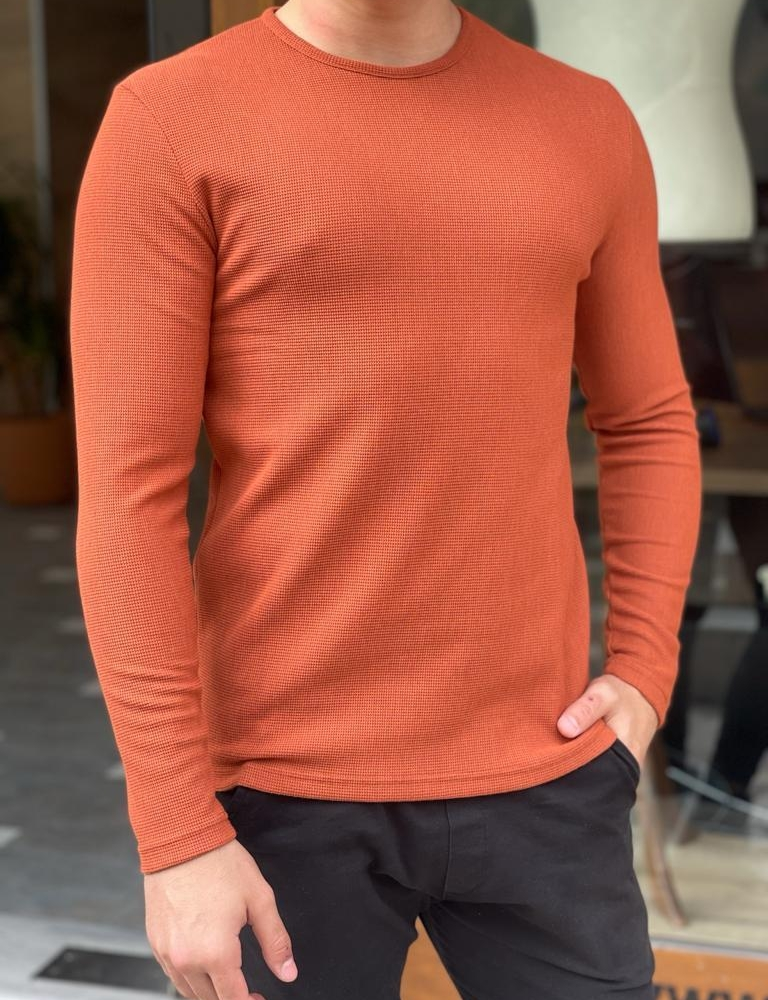 Orange Slim Fit Round Neck Sweater for Men by GentWith.com with Free Worldwide Shipping