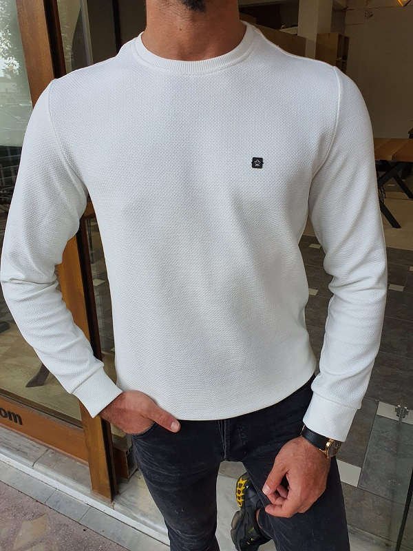 White Slim Fit Crew Neck Sweater for Men by GentWith.com with Free Worldwide Shipping