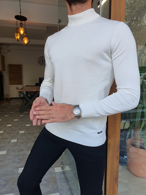 White Slim Fit Mock Turtleneck Sweater for Men by GentWith.com with Free Worldwide Shipping