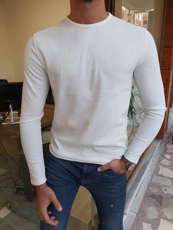 White Slim Fit Round Neck Sweater for Men by GentWith.com with Free Worldwide Shipping