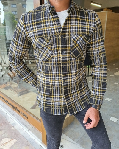 Yellow Slim Fit Long Sleeve Cotton Plaid Shirt for Men by GentWith.com with Free Worldwide Shipping
