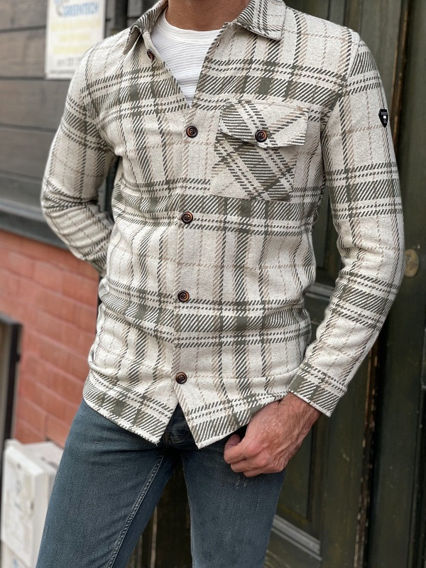 Beige Slim Fit Long Sleeve Cotton Plaid Shirt for Men by GentWith.com with Free Worldwide Shipping
