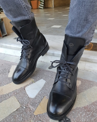 Black Cap Toe Boots for Men by GentWith.com with Free Worldwide Shipping