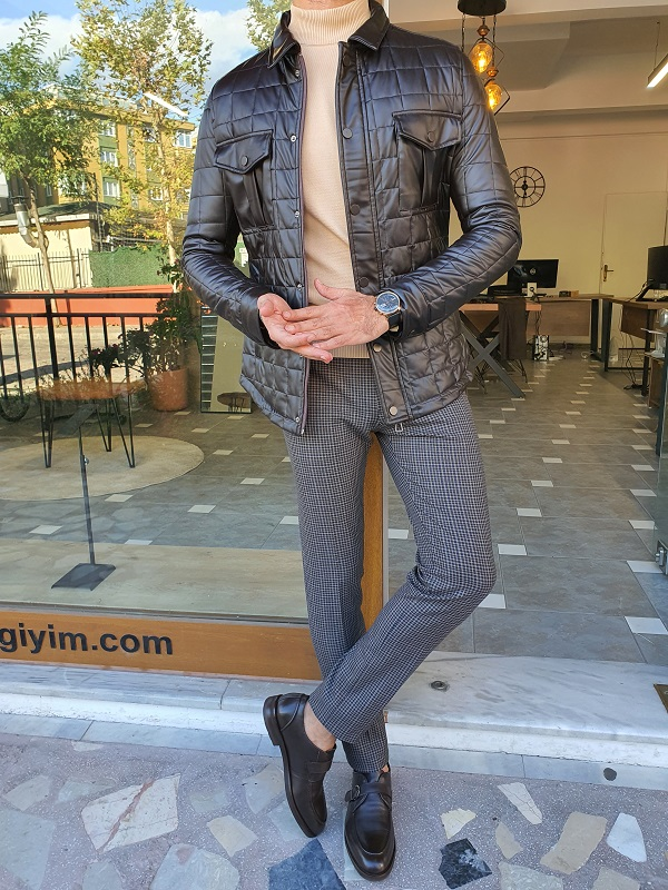 Black Slim Fit Patterned Jacket for Men by GentWith.com with Free Worldwide Shipping
