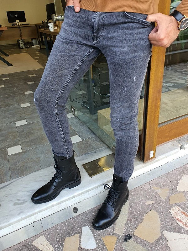 Black Slim Fit Ripped Jeans for Men by GentWith.com with Free Worldwide Shipping