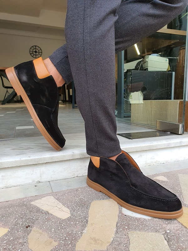 Black Suede Loafers for Men by GentWith.com with Free Worldwide Shipping