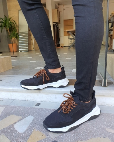 Black Suede Mid-Top Sneakers for Men by GentWith.com with Free Worldwide Shipping