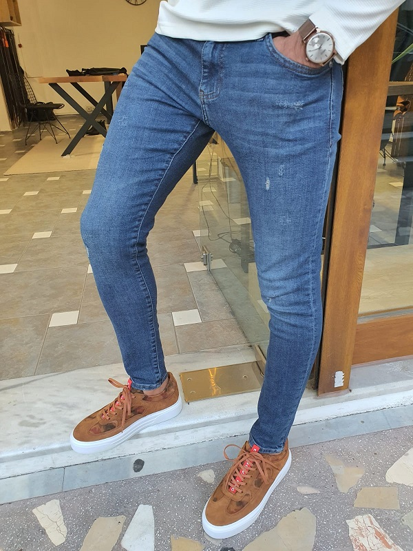 Blue Slim Fit Ripped Jeans for Men by GentWith.com with Free Worldwide Shipping
