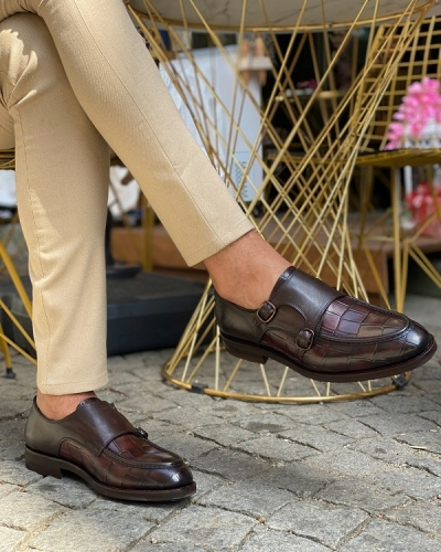 Brown Monk Strap Loafers for Men by GentWith.com with Free Worldwide Shipping