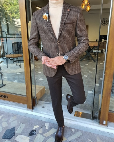Brown Slim Fit Blazer for Men by GentWith.com with Free Worldwide Shipping
