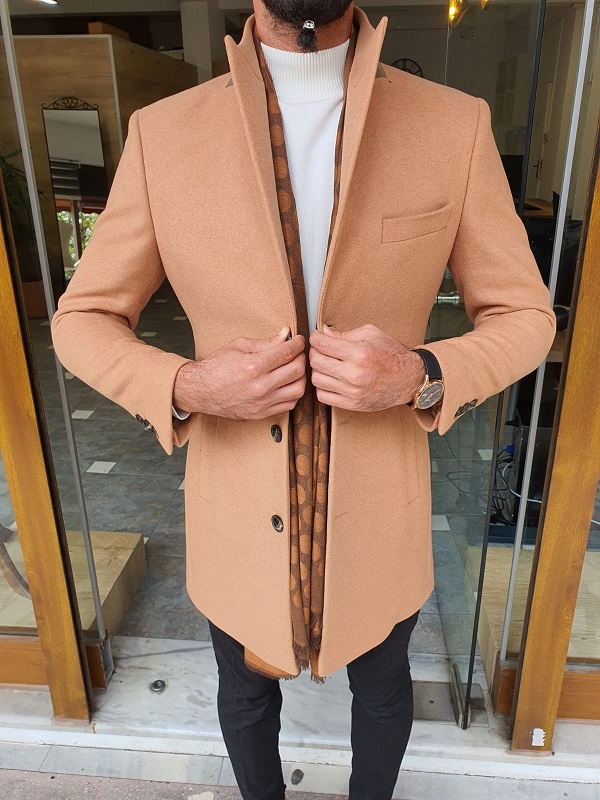 Brown Slim Fit Single Breasted Long Coat for Men by GentWith.com with Free Worldwide Shipping
