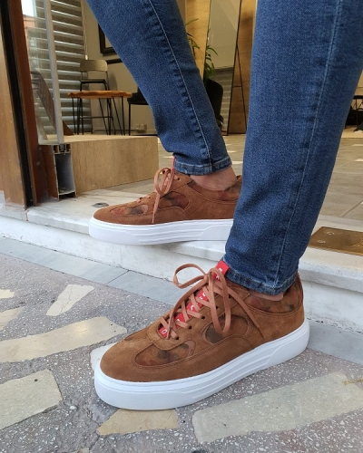 Brown Suede Mid-Top Sneakers for Men by GentWith.com with Free Worldwide Shipping