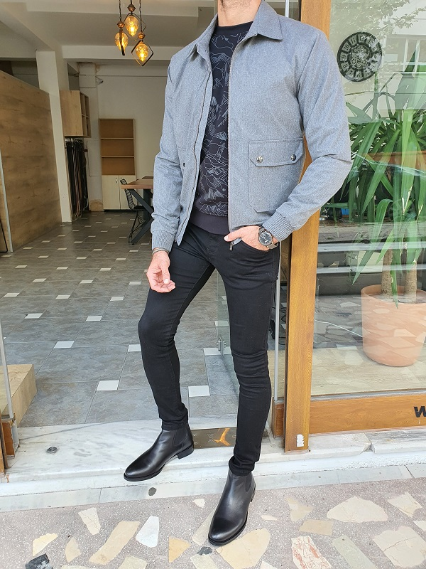 Gray Slim Fit Jacket for Men by GentWith.com with Free Worldwide Shipping