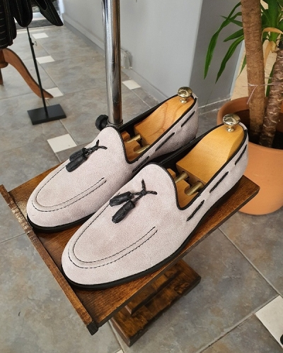 Gray Suede Tassel Loafer for Men by GentWith.com with Free Worldwide Shipping