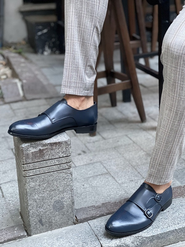 Navy Blue Double Monk Strap for Men by GentWith.com with Free Worldwide Shipping