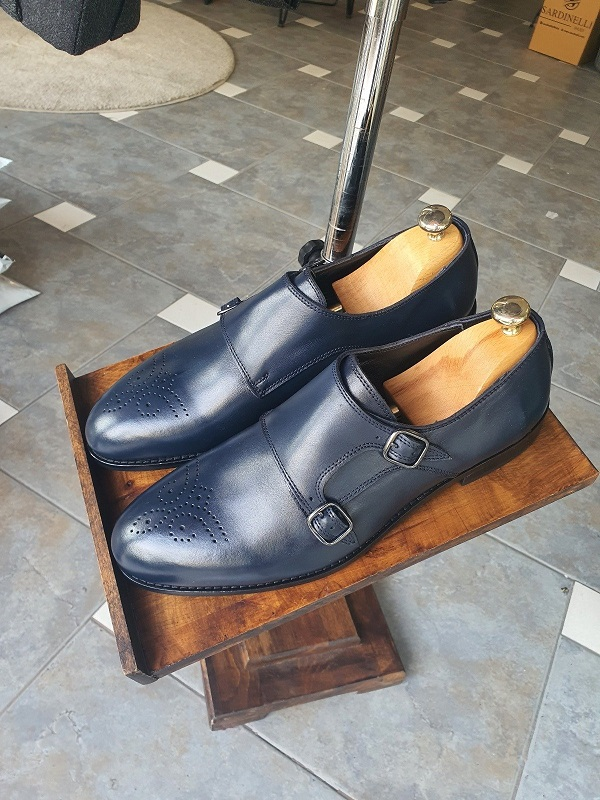 Navy Blue Double Monk Strap Shoes for Men by GentWith.com with Free Worldwide Shipping
