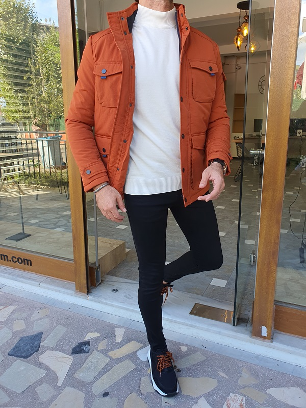 Orange Slim Fit Special Jacket for Men by GentWith.com with Free Worldwide Shipping