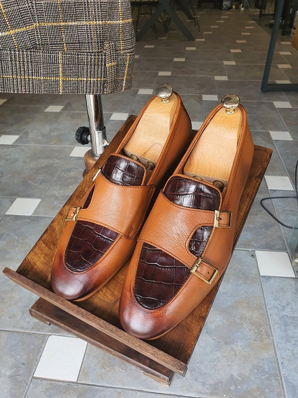 Tan Double Monk Strap Loafers for Men by GentWith.com with Free Worldwide Shipping