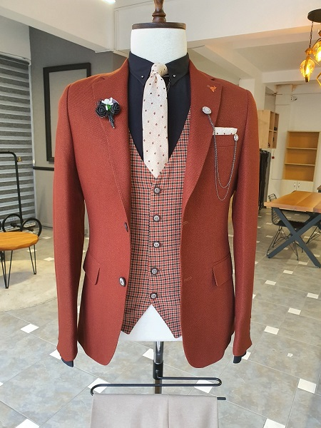 Tile Slim Fit Notch Lapel Linen Suit for Men by GentWith.com with Free Worldwide Shipping