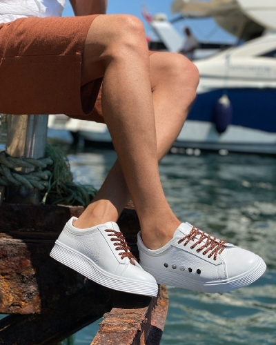 White Mid-Top Sneakers for Men by GentWith.com with Free Worldwide Shipping