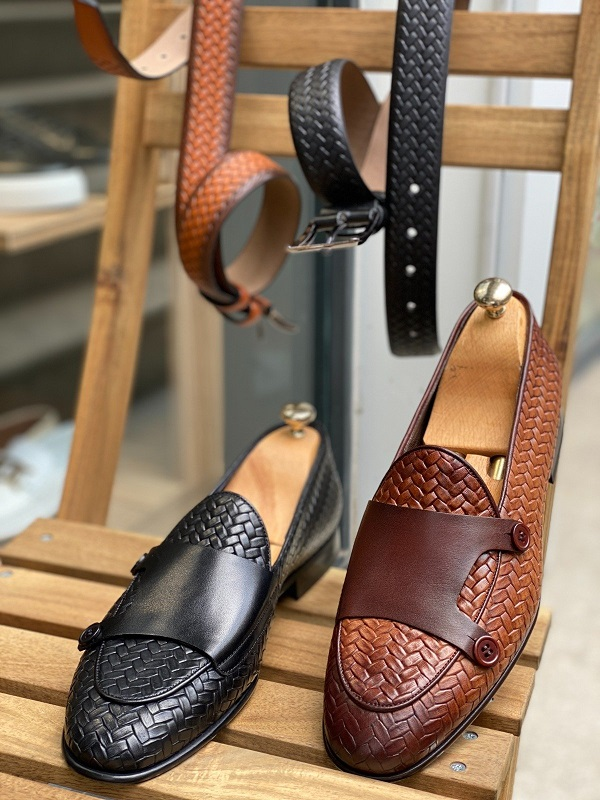 Woven Leather Monk Strap Loafers for Men by GentWith.com with Free Worldwide Shipping