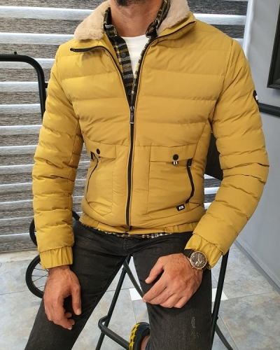 Yellow Slim Fit Quilted Coat for Men by GentWith.com with Free Worldwide Shipping