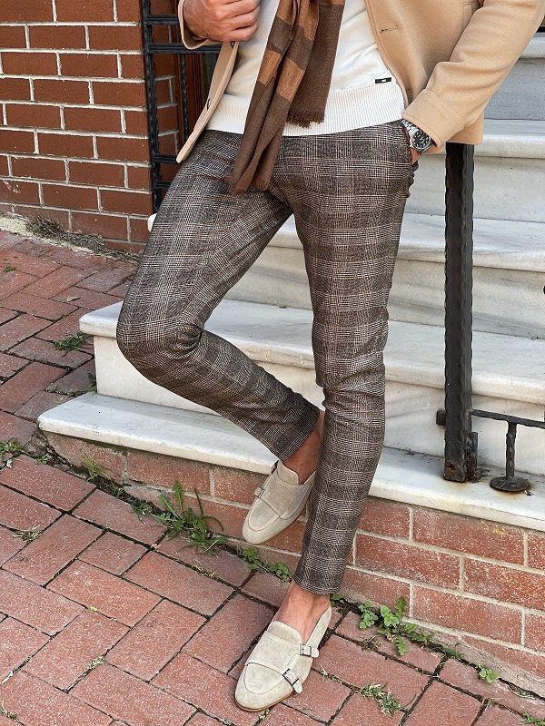 Beige Slim Fit Plaid Pants for Men by GentWith.com with Free Worldwide Shipping