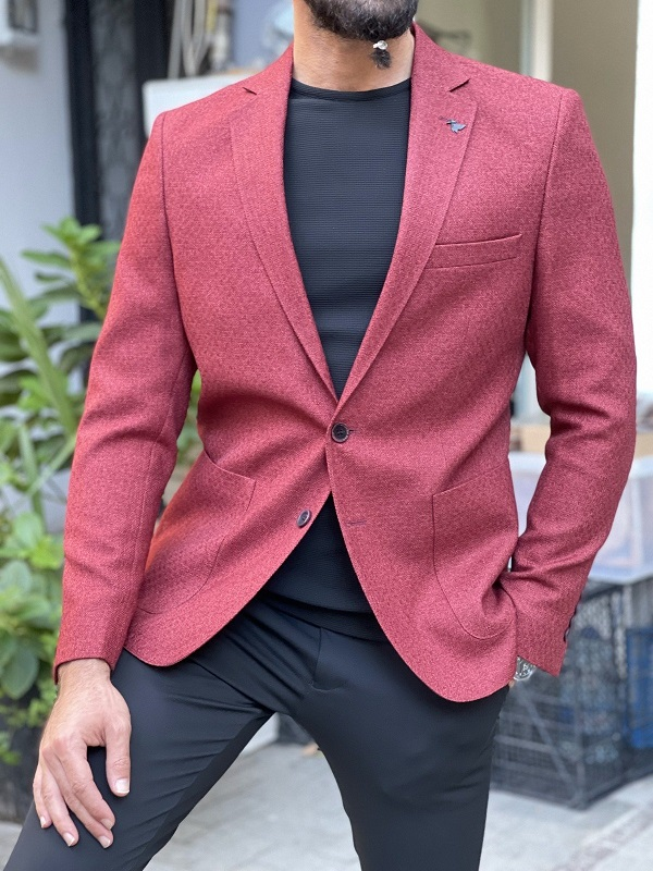 Burgundy Slim Fit Blazer for Men by GentWith.com with Free Worldwide Shipping