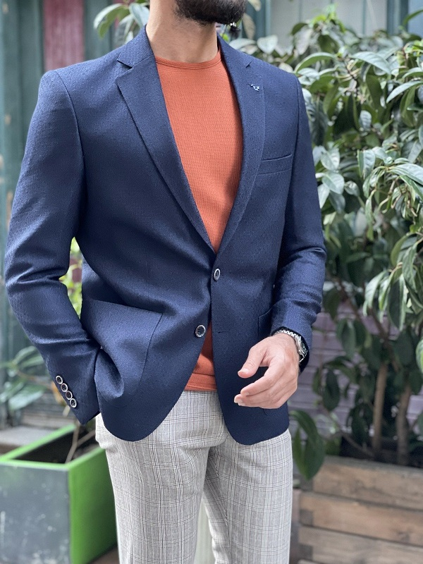 Navy Blue Slim Fit Blazer for Men by GentWith.com with Free Worldwide Shipping