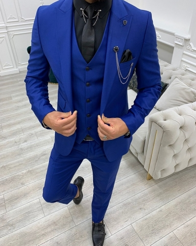 Blue Slim Fit Peak Lapel Suit for Men by GentWith.com with Free Worldwide Shipping
