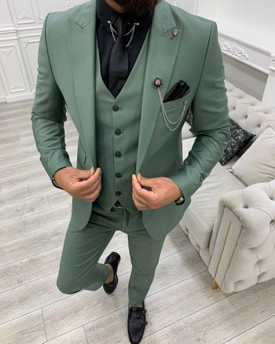 Light Green Slim Fit Peak Lapel Suit for Men by GentWith.com with Free Worldwide Shipping