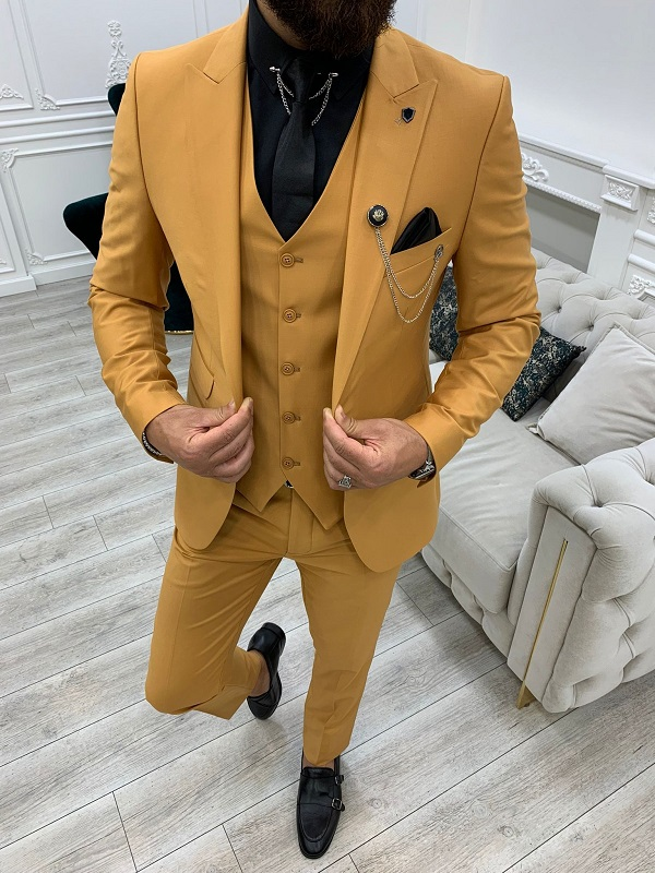 Mustard Slim Fit Peak Lapel Suit for Men by GentWith.com with Free Worldwide Shipping