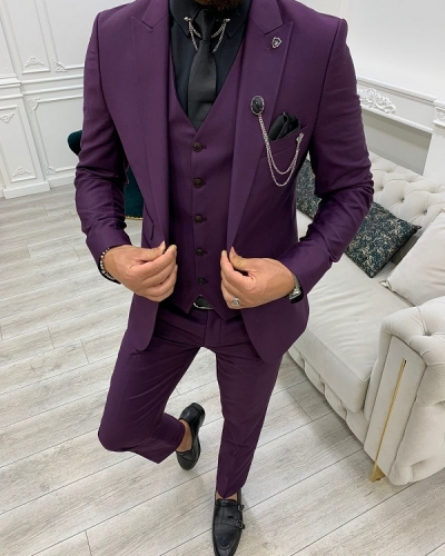 Purple Slim Fit Peak Lapel Suit for Men by GentWith.com with Free Worldwide Shipping